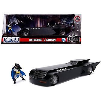 Batmobile With Batman Diecast Figure Animated Series Dc Comics Series 1/24 Diecast Model Car Par Jada