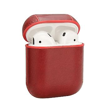 For Apple AirPods 1/2 Case, Genuine Leather Shockproof Box, Oil Wax Pattern Red