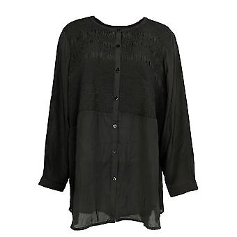 Joan Rivers Classics Collection Women's Plus Top Smocked Black A302215