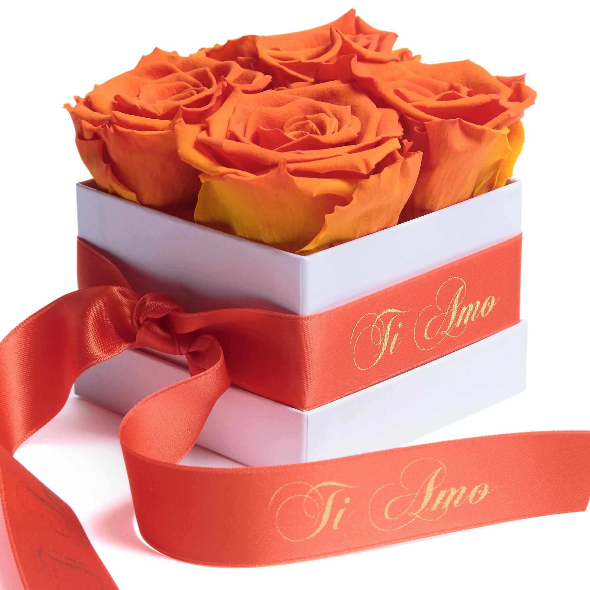 Blumen Box Weiß ewige Rosen haltbar 3 Jahre Orange Ti Amo Geschenk