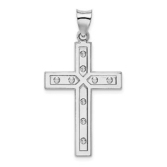 20mm 925 Sterling Silver Rhodium plated Satin and Polished Latin Religious Faith Cross Pendant Necklace Jewelry Gifts fo