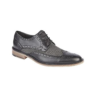 Roamers Black/grey Leather/textile 4 Eye Wing Cap Brogue Gibson Shoe