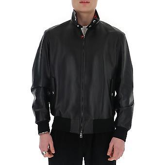 Alexander Mcqueen 603449q5hsm1029 Herren's Schwarze Leder Outerwear Jacke