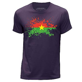 STUFF4 Hommes rond Neck T-shirt-T-Shirt/Burkina Faso drapeau Splat/Purple