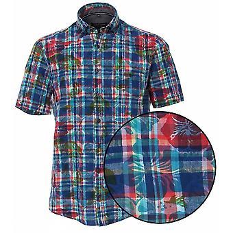 CASA MODA Casa Moda Linnen Check Short Sleeve Shirt