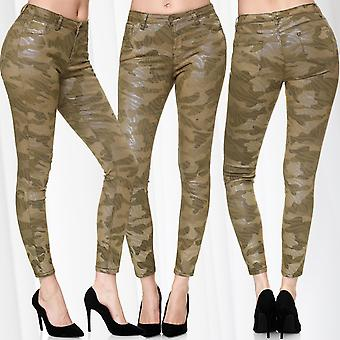 Ladies Camouflage High Waist Pant Stretch Shaping Stretch Skinny Shiny Jeggings