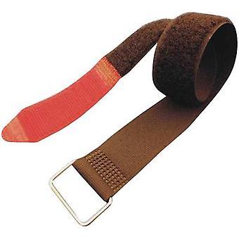FASTECH® F101-50-0630M Krok-och-slinga tejp med rem Krok och slinga pad (L x W) 630 mm x 50 mm Svart, Röd 1 st( er)