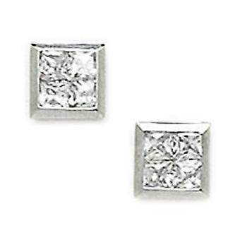 14k White Gold CZ Cubic Zirconia Simulated Diamond Small Square Segmented Screw back Earrings Measures 7x7mm Jewelry Gif