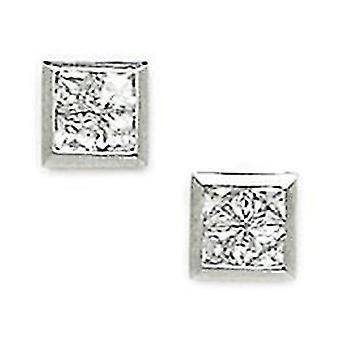 14k White Gold CZ Cubic Zirconia Gesimuleerde Diamond Small Square Gesegmenteerde Schroef terug Oorbellen Maatregelen 7x7mm Sieraden Gif
