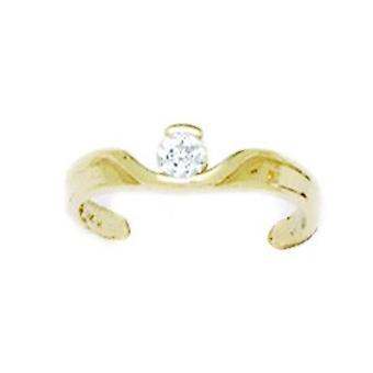 14k Yellow Gold CZ Cubic Zirconia Simulated Diamond Adjustable Elegant Single Stone Body Jewelry Toe Ring Jewelry Gifts