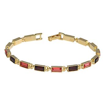 "Annaleece Goldtone 7.5"" Bracelet With Salmon & Aubergine Crystals"
