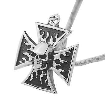 Knights templar cross skull pendant necklace