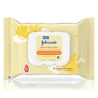 Johnson's hand and face wipes, disposable, 25 ea
