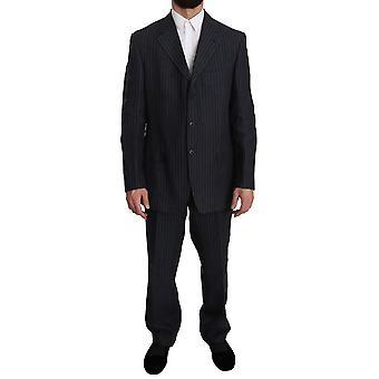 Z ZEGNA Blue Gray Striped 3 Button Linen Two Piece Suit -- KOS1253104