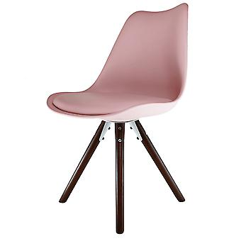 Fusion Living Eiffel Inspired Blush Pink Plastic Dining Chair With Pyramid Dark Wood Legs