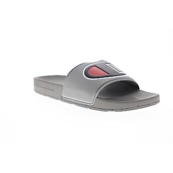 Champion Ipo  Mens Gray Synthetic Slip On Slides Sandals Shoes
