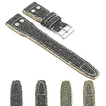 Watch strap made by strapsco for iwc watch strap canvas weave frayed edge with rivets extra long