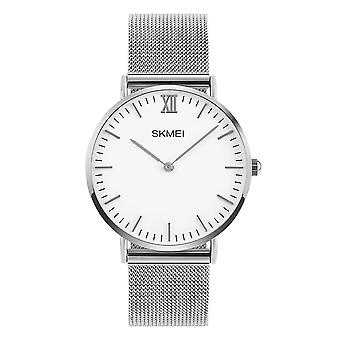 Skmei Mens Silver Ultra Thin Classic Watch Stainless Steel Mesh Strap Clear Display SK1811S-M