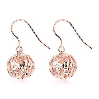 TJC Drop Bungelen Bead Ball Oorbellen voor vrouwen Rose Gold Plated Sterling Zilver