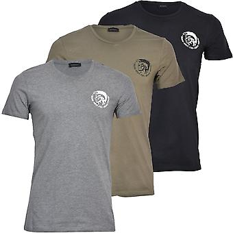 Diesel 3-Pack Mohawk Logo Cotton Stretch Crew-Neck T-Shirts, Black/Khaki/Grey
