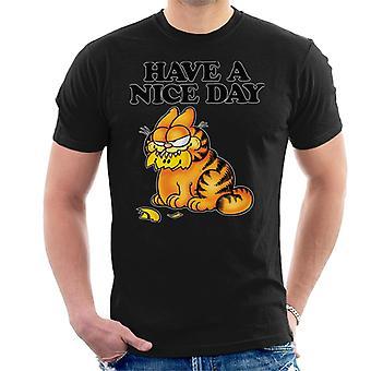 Garfield Smashed smiley gezicht in de mond hebben een mooie dag mannen ' s T-shirt