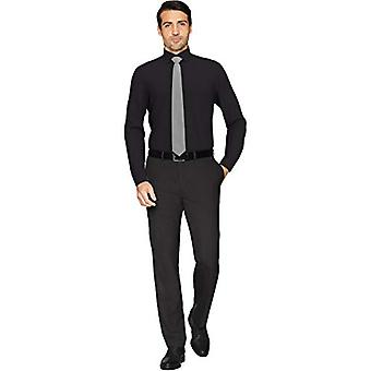 """BOTONED ABAJO Hombres's Tailored Fit Spread-Collar Solid Non-Iron Dress Shirt, Negro 16"""" Cuello 35"""" Manga"""