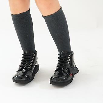 Kickers Kick Hi Kids Patent Botas de Cuero Negro