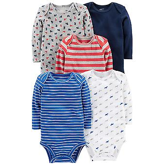 Simple Joys by Carter's Baby Boys' 5-Pack Long-Sleeve Bodysuit, Blue/Red/Grey...