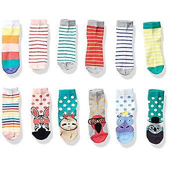 Brand - Spotted Zebra Kids' 12-Pack Ankle Socks, Safari Animals, Large...