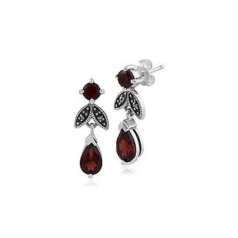 Art Deco Style Pear Garnet & Marcasite Drop Earrings in 925 Sterling Silver 214E530305925