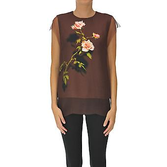 Dries Van Noten Ezgl093183 Dames's Brown Silk Top