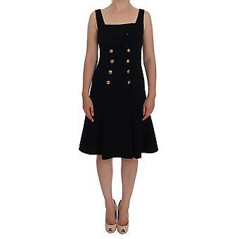 Dolce & Gabbana fekete gyapjú stretch arany a-line shift ruha DR1046-1