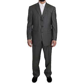 Ermenegildo Zegna Wool Gray Striped 2 Piece Suit KOS1444-50