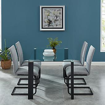 Nathaniel Dining 5Pc Set - Black Table/Light Grey Chair
