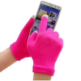Unisex One Size Winter Touchscreen Handyhandschuhe (Hot Pink) Für Apple Nokia Nokia Huawei Google LG Sony Motorola