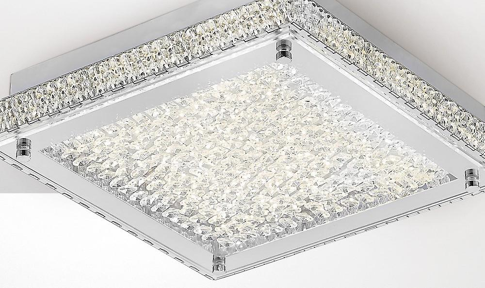 Flush Ceiling 18W 1800lm LED 4000K Stainless Steel, Crystal
