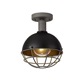 Luminosa Lighting - Deckenleuchte, 1 Light E27, IP65, Matt Schwarz, Grau