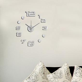 Modern Home Self Adhesive DIY 3D Wall Clock - Utopian Metallic