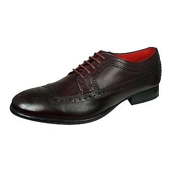 Base London Bailey mens graan lederen Brogue/schoenen-Bourgondië