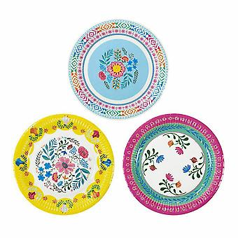 Floral Boho Bright Paper Party Plates Pack of 12 Medium Size