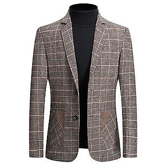 YANGFAN Mens Check Suit Blazer Two Button Flat Collar Suit Jacket