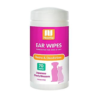 Nootie Ear Wipes for Pets - Cleans & Deodourises - Cherry Blossom - 70 Pack