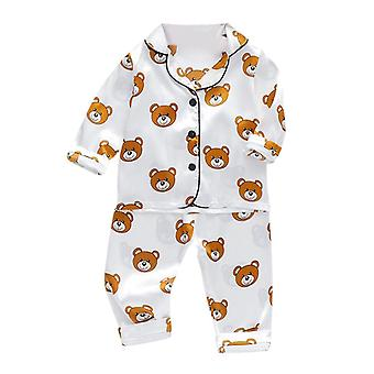 Baby Langarm Cartoon Bär Tops & Hose Pyjamas Sleepwear