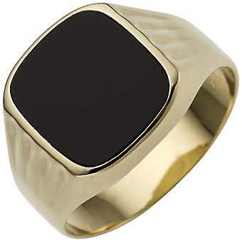 خاتم رجال 585 ذهبية ذهبية صفراء 1 أونكس جولد رينغ