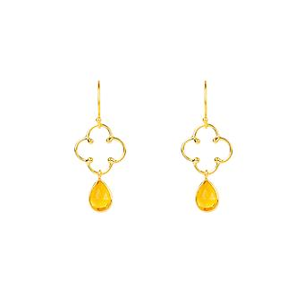 Latelita Clover Gemstone Drop Earring Gold Citrine Yellow Hook Dangle Silver 925