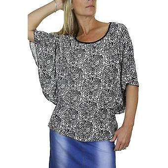 Women's Smart Casual Batwing Sleeve Blouse Ladies Print Elasticated Waist Scoop Neck Tunic Top 10-18