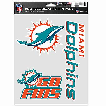 NFL ملصقا متعددة الاستخدامات مجموعة من 3 20x15cm - ميامي الدلافين