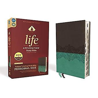 NIV, Life Application Study� Bible, Third Edition, Personal Size, Leathersoft, Gray/Teal, Red Letter Edition, Thumb Indexed