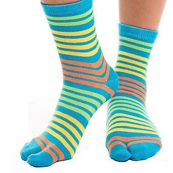 Flip Flop Tabi Ponožky - modrá, žlutá pruhovaná-1 pár