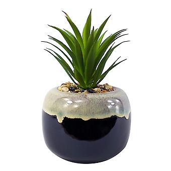 20cm Ceramic Drip Glazed Planter with Artificial Green Dracaena Plant